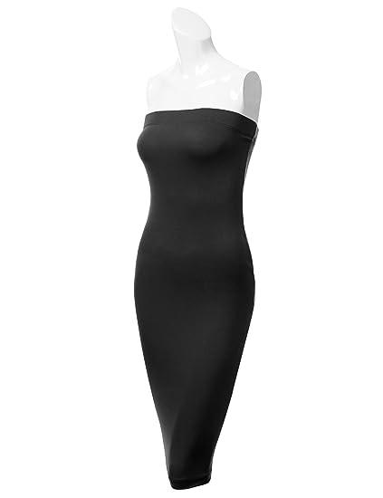 ec64e767a3b DRESSIS Womens Strapless Midi Bodycon Stretchy Tube Dress at Amazon Women s  Clothing store