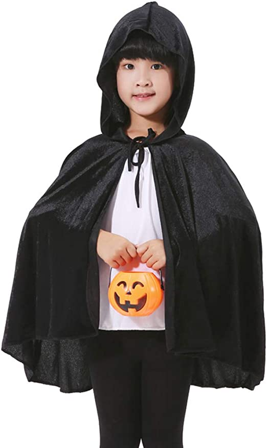 1 Adult Kids Boy Halloween Fancy Party Costume Cosplay Vampire Black Cape Cloak
