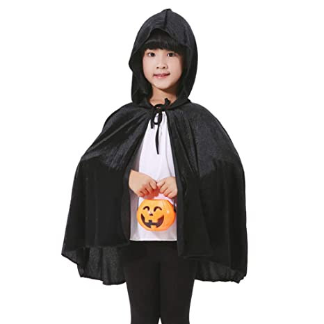 Child Hooded Velvet Cape Cloak Robe School Witch Vampire Kids Halloween Costume