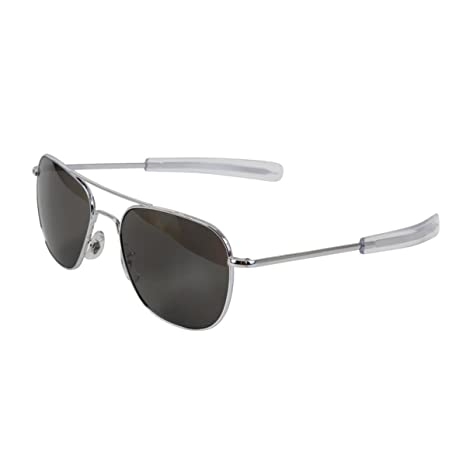 a523d5c44d40a AO Eyewear American Optical - Original Pilot Aviator Sunglasses with Bayonet  Temple and Silver Frame