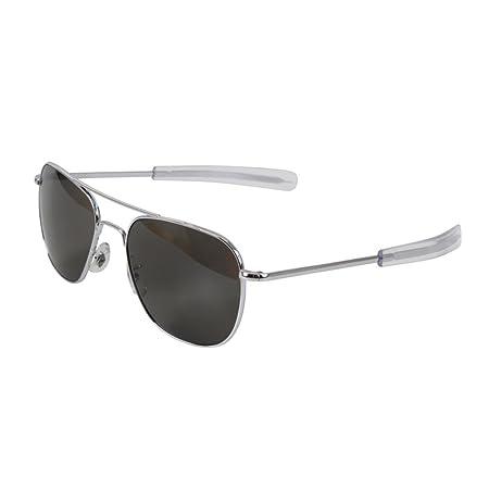 AO Eyewear American Optical Gafas de aviador, 55 mm, montura plateada, lentes grises