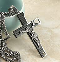 "HZMAN Men's Stainless Steel Cross Crucifix Bible Prayer Pendant Necklace 24"" Chain"