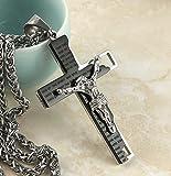 "HZMAN Men's Stainless Steel Cross Crucifix Bible Prayer Pendant Necklace 24"" Chain"