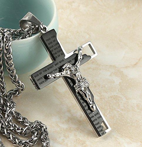 HZMAN Men's Stainless Steel Cross Crucifix Bible Prayer Pendant Necklace 24