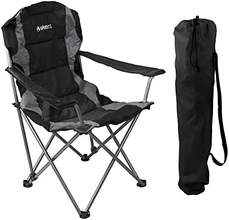 GigaTent Black Folding Camping Chair Ultra Lightweight Collapsible Quad Padded Lawn Seat with Full Back, Arm Rests, Cup Holder and Shoulder Strap Carrying Bag – Powder Coated Steel Frame