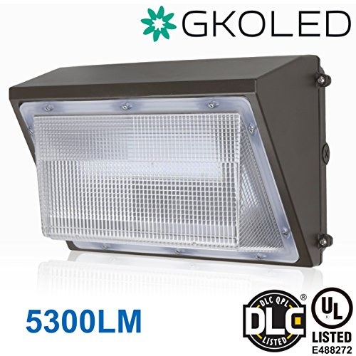 GKOLED 45W LED Wall Pack Light Fixture, 5300 Lumens, 5000K Daylight, 300W HPS/HID Replacement, Waterproof Commercial Grade Wall Pack, UL listed DLC 4.2 qualified, over 50,000 hours (Polycarbonate Wall Fixture)