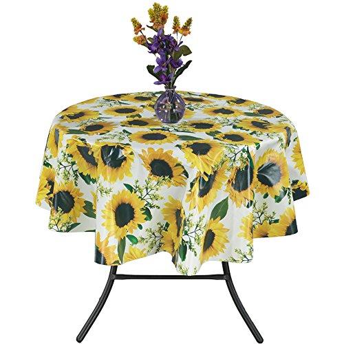 "Ottomanson Vinyl Tablecloth Sunflower Design Indoor & Outdoor Non-Woven Backing Tablecloth, 55"" Round, Yellow"