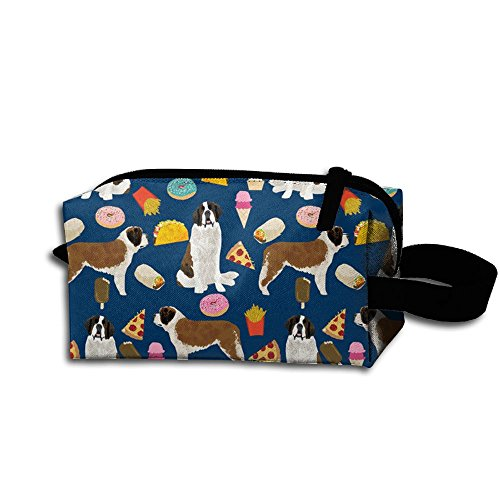 Storage Bag Travel Bag Saint Bernard Pizza And Ice Cream Cosmetic Bag Portable Travel Makeup Bag