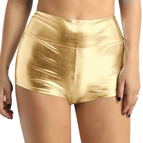 Gold Boy Shorts (iEFiEL Womens Sexy Shiny Stretchy Metallic Liquid Wet Look High Waist Dance Rave Booty Shorts Hot Pants Gold)