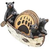 3 Black Bears Canoeing Coaster Set - 4 Coasters Rustic Cabin Canoe Cub Decor