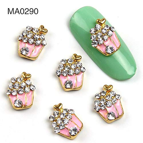 Kamas 10Pc/Lot Vintage Design Nail Jewelry Rhinestone Paved Heart Flower Nail Charms Everything for Nail Manicure Decoration Accessory - (Color: MA0290)