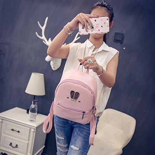 Zipped Conejo Bag Cuero Espeedy Travel Casual Rosa Alta Calidad Bolsas De Diamante Corea Mochila Moda Orejas Ladies Mujeres Escuela Niñas 0Xr1z0O