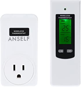 Lossky RF 433MHz Wireless Thermostat Plug LCD Remote Control Temperature Controller Plug & Play High/Low Temperature Alarm