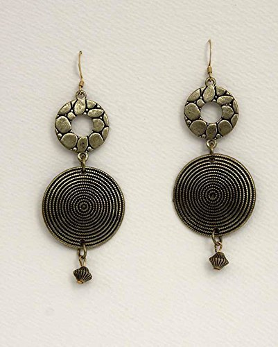 Antique-Finish Bronze Drop Earrings