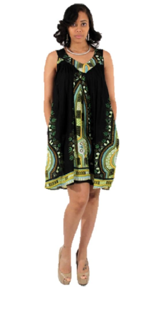 Short Traditional African Dashiki Print Rayon Sundress Sun Dress - Available in Many Colors (Black)