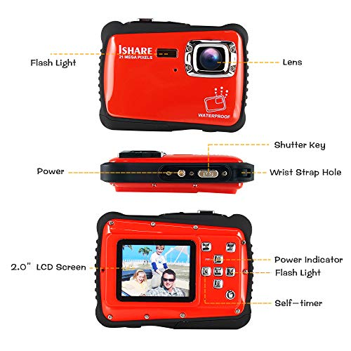 Waterproof Digital Camera for Kids, ishare Update Underwater Camera with 2.0'' LCD, 8X Digital Zoom, 1080p Flash and Mic for Girls/Boys(RED) by ISHARE (Image #5)