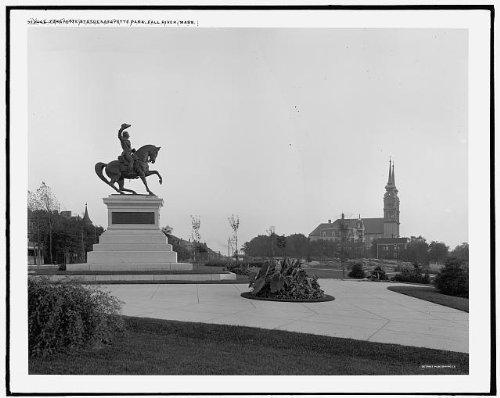 Photo: Marine Joseph Paul Lafayette Statue,plazas,Park,Fall River,Massachusetts,MA,1910