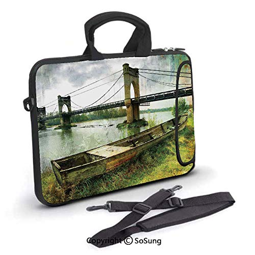 14 inch Laptop Case,Bridge and Old Boat on Riverside Distressed Paint Style Nostalgic City Picture Neoprene Laptop Shoulder Bag Sleeve Case with Handle and Carrying & External Side Pocket,for Netbook/