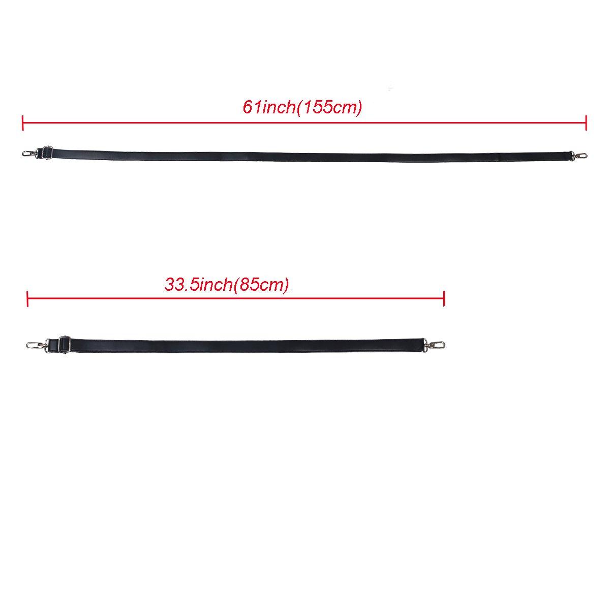 Black Leather Shoulder Strap BOMKEE 61 Inch Universal Replacement Adjustable with Metal Swivel Hooks for Shoulder Crossbody Bag Briefcase Messenger Bag Wallet Purse Shoulder Bag Handbag Straps
