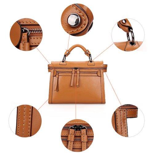 Fineplus Women's 100% Genuine Leather Europe Vintage Handbag Leather Tote Bag Brown