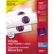 """Avery High-Visibility Labels for Inkjet Printers,  1-1/2"""" Diameter, White, Round, 400 Labels, Permanent (8293)"""