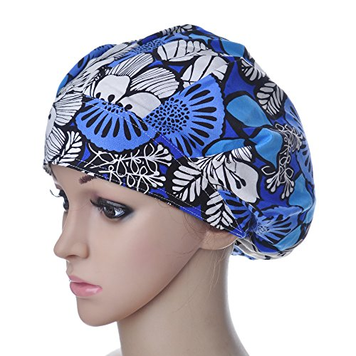 Opromo Cotton Bleach Friendly Banded Adjustable Scrub Cap Sweatband Bouffant Hat