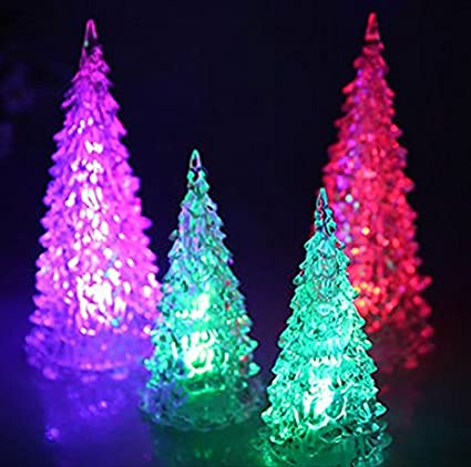 jcare 5pc acrylic christmas tree led battery operated colour changing desk table top christmas tree decorations - Top Christmas Tree Decorations