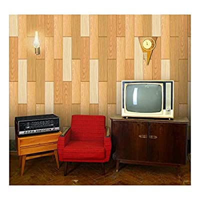 Made With Love, Stunning Piece, Vertical Yellow Tones of Wood Textured Paneling Pattern Wall Mural Removable Wallpaper