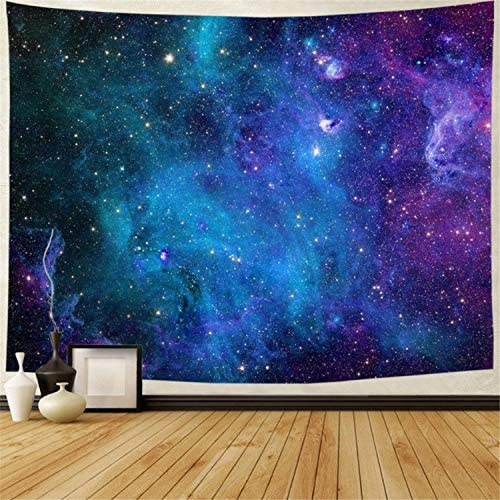 Lahasbja Galaxy Tapestry Blue Starry Sky Tapestry Universe Space Tapestry Wall Hanging Psychedelic Tapestry Mysterious Nebula Stars Wall Tapestry for Living Room Dorm XL 70.8 92.5 , Blue Galaxy