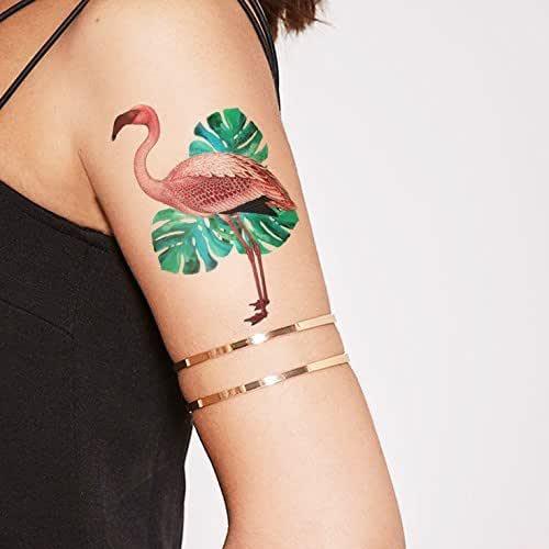 Flamenco rosa con hojas de Monstera - Tatuaje temporal: Amazon.es ...