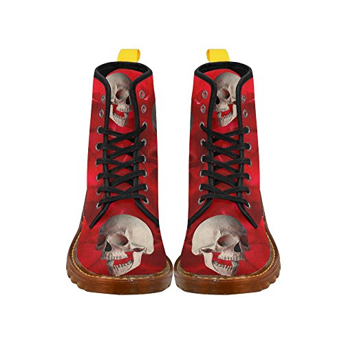D-Story Shoes Funny Skull and Rose Lace Up Martin Boots For Women COTLQ