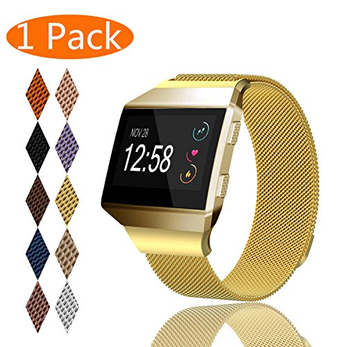 KingAcc Fitbit Ionic Bands, Mesh Loop Milanese Stainless Steel Metal Replacement Band for Fitbit Ionic, With Magnetic Clasp Lock Strap Women Men (1-Pack, Gold, - Gold Lock Magnetic