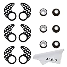 ALXCD Earhook for Jaybird Bluebud X X2, Small Size 3 Pair Anti-Slip Sport Ear Hook & 3 Pair Durable Soft Silicone Replacement Ear Tip, Fit for Jaybird X X2 Earphone (Black-S)