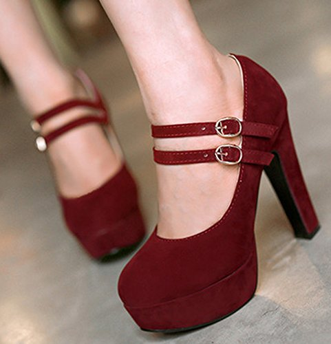 Extreme Heels Platform Shoes Red High Chunky Sexy Straps Two Wine Buckle Womens IDIFU Pumps Xxp8qzwUq
