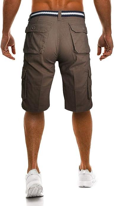 Cargo Shorts Hombres Pantalones Cortos de Algodón Leisure Casual ...
