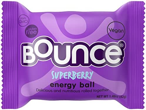 Bounce Natural Protein Energy Ball, Gluten-Free Vegan Snack with Protein - Superberry, 1.48 Ounce (Pack of 12)