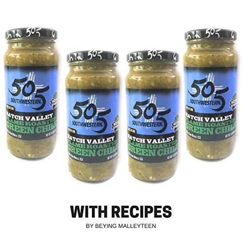 - 505 Southwestern 16oz jars Diced Flame Roasted Green Chile – Medium (4 pack) with Recipes