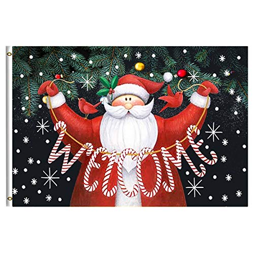 Merry Christmas Santa Claus Welcome Home Holiday Garden Flag 3x5 Feet with Brass Grommet Wind Double Stitch Winter Snow Snowflake Christmas Tree Bells Banner Flag Breeze Decorations for Indoor ()