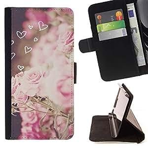 Momo Phone Case / Flip Funda de Cuero Case Cover - Amour rose Printemps Vignette - Huawei Ascend P8 (Not for P8 Lite)