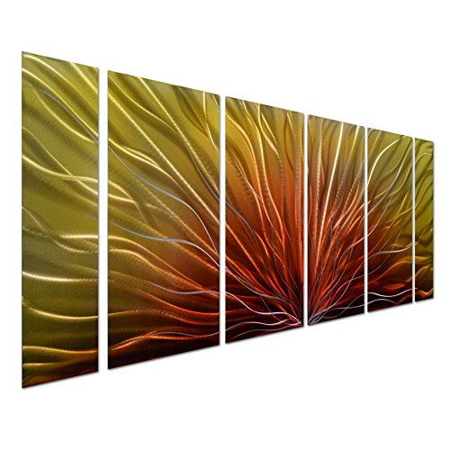 The Sun Almighty - Large Abstract Contemporary Metal Wall Art Decor - Set of 6 Yellow Red Panels - Decorative Sculpture for Any Room - 65