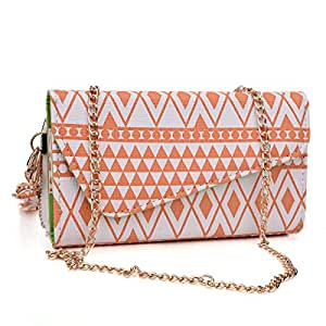 Kroo Coral / White Tribal Pattern Wallet fits Fujitsu Stylistic S01 Case