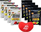 Jelly Belly Jelly Beans Jelly Belly Sports Beans Assorted Quick Energy from Caffeine and Electrolytes - 4 Extreme and 4 Original 1 Ounce Bags (Pack of 8) - with Jelly Belly Emoji Mini Plush Toy