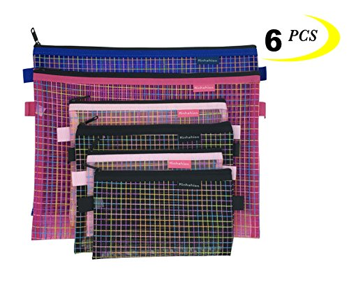 Zipper Bags, 6 PCS 3 Sizes, Mesh Zipper Pouch Clear Zipper P