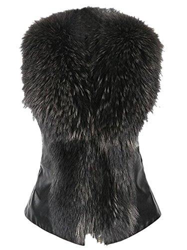 Fur Sweater Vest (Jingjing1 Women Faux Fur Vest, Sleeveless Winter Warm Leather Gilet (S, Black))