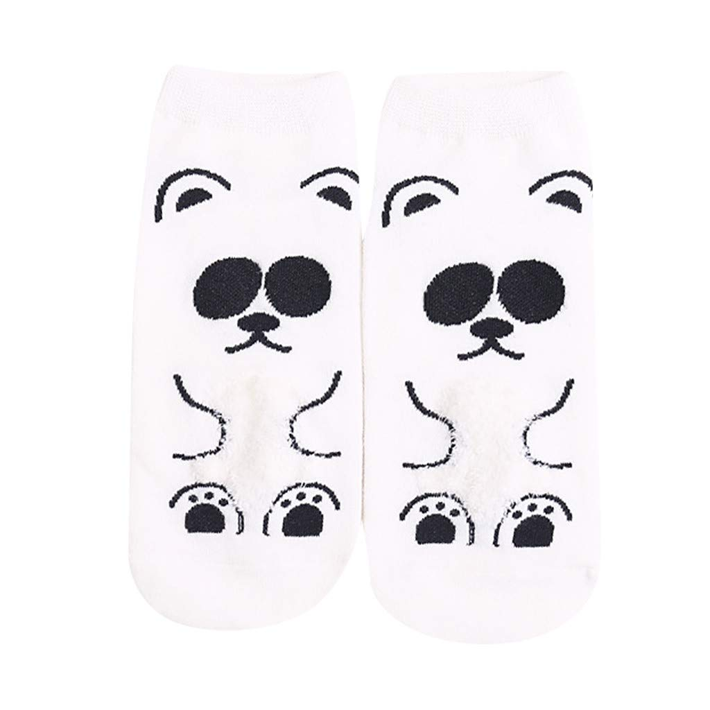 CapsA New Fashion Women Cotton Socks Funny Animal Art Animation Character Cute Gift Dress Sock (White)