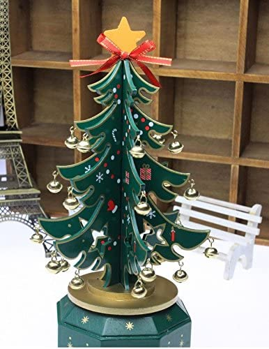 Amazon Co Jp Wooden Christmas Tree Musical North 欧風 Compact Size For Decor Your Room Or Entrance Mini Layout 3d Christmas Tree Shape Music Box Silent Night Holy Night Toys