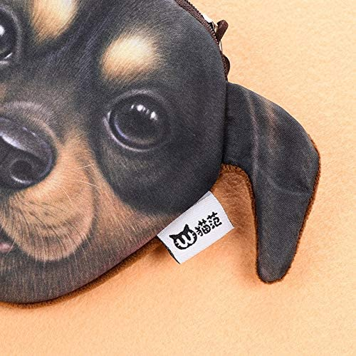Gimax Coin Purses Color: 3 Women Casual Coin Purse Plush Dog Purses Fashion Card Holder Ladies Small Handmade Cloth Bags Children Wallet Pouch