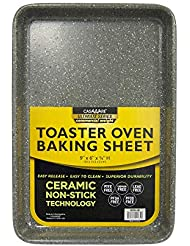 casaWare 9 x 6 x 0.75-Inch Toaster Oven Ultimate Series Commercial Weight Ceramic Non-Stick Coating Baking Pan (Silver Granite)