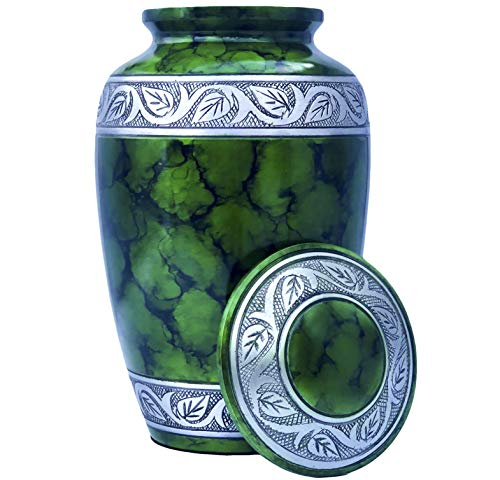 Eternal Harmony Cremation Urn for Human Ashes | Funeral Urn Carefully Handcrafted with Elegant Finishes to Honor and Remember Your Loved One | Adult Urn Large Size with Beautiful Velvet - Green Harmony