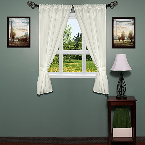 Window Bathroom Fabric Curtain (Sweet Home Collection Fabric Bathroom Window Curtain Hotel Quality Set of Two Durable 36